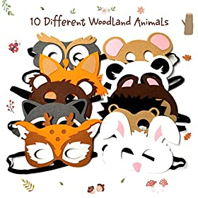 CiyvoLyeen Forest-Friends Animals Felt Masks 10 pcs Woodland Creatures Animal Cosplay Zoo Camping Themed Party Favors…