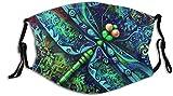Mascarilla de tela con diseño de mandala indio y libélula con bolsillo de filtro, pasamontañas, antipolvo, reutilizable, protección de tela con 2 filtros