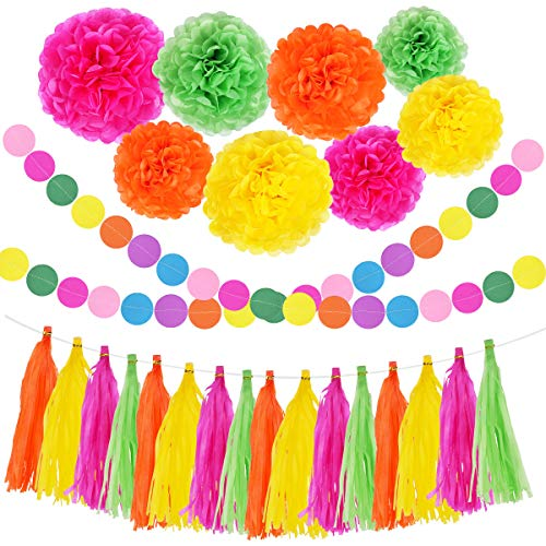 Mexican Party Decorations Fiesta Hanging Paper Banner Pom Pom Flowers Tassel Garland Orange Pink Green Yellow Party Supplies