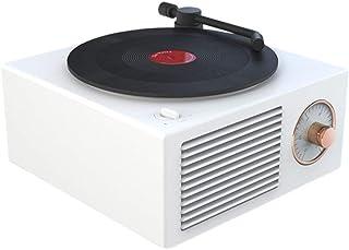 ビニールレコードプレーヤースピーカーワイヤレスポータブルミニスチールレトロアトミックスピーカーラジオカセットレコーダーエレガントホワイト