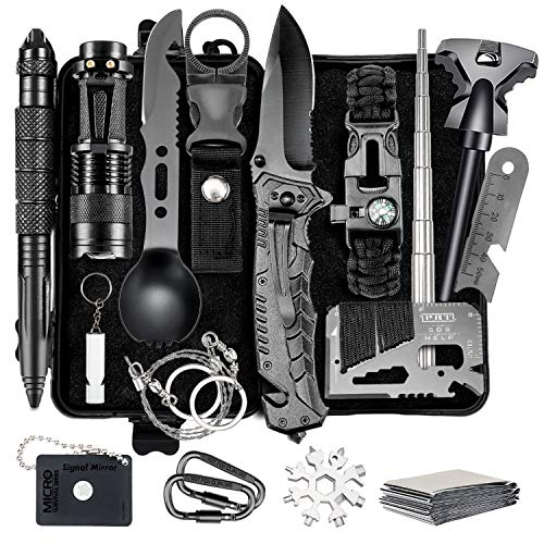 Naubr Camping Gear 15 in 1 Survival Gear kit,Tactical Survival Tool for Cars, Camping, Hiking, Hunting, Adventure Accessories