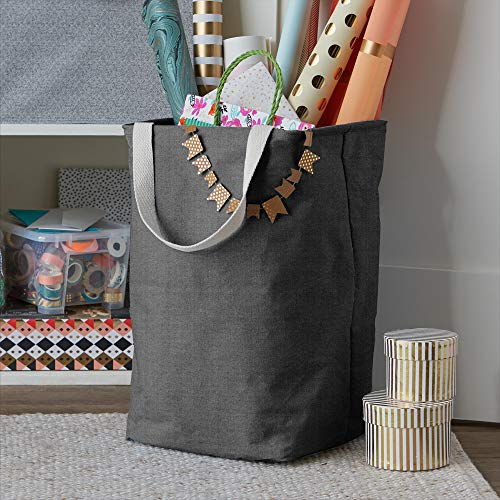 AmazonBasics Fabric Storage Bin Basket - Tall Cube, Charcoal Grey
