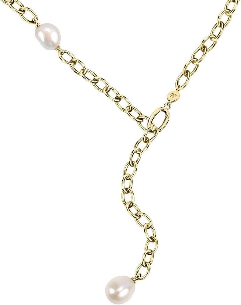 Morellato, collana da donna, collezione oriente, in acciaio, pvd oro giallo, perla naturale SARI01