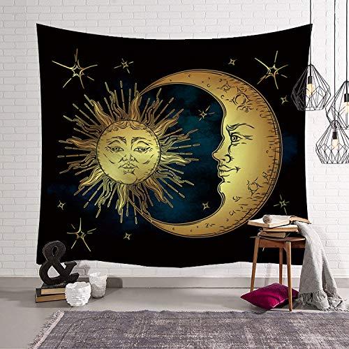 Wandteppiche Tapisserie Wandbehang, Vintage Bohemian Astrologie Gobelin Wandbehang Goldenen Mond, Sterne Und Sonne, Große Rechteckige Stoff Kunst Dekor Für Wohnzimmer Schlafzimmer, 200 × 150 Cm
