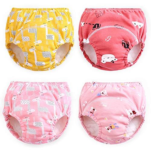 Max Shape Pantalones de entrenamiento para niñas 2T, 3T, 4T, ropa interior de entrenamiento para bebés, paquete de 4, Rojo, 4 Años