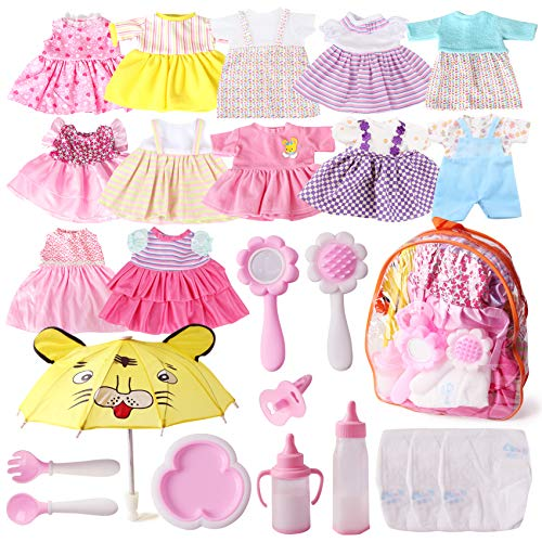 Fits 12'' 13'' 14'' 15'' Bitty Baby Girl Alive Doll Clothes Diapers 360°Sewing Dresses for American Dolls with Doll Nappies, Umbrella, Milk Bottle, Nipple, and Doll Accessories Pack of 25 Bag Set