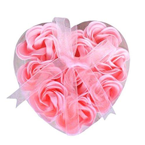 DAYAN Corps Bain de fleur de coeur Favor Savon Rose Petal décoration de mariage Cadeaux - Rose