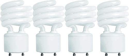 (4 Pack) 13 Watt Mini Spiral - GU24 Base - (60W Equivalent) - T2 Mini-Twist - CFL Light Bulb (Neutral White (3500K), ...