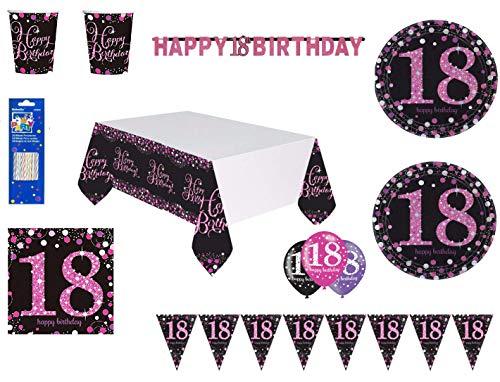 Mgs33 Kit Plus Anniversaire 18 Ans Complet décoration Table 16 Personnes (16 Assiettes, 16 gobelets, 16 Serviettes, 1 Nappe + 6 Ballons 18 Ans ) fête Joyeux Anniversaire argenté Rose Silver Brillant