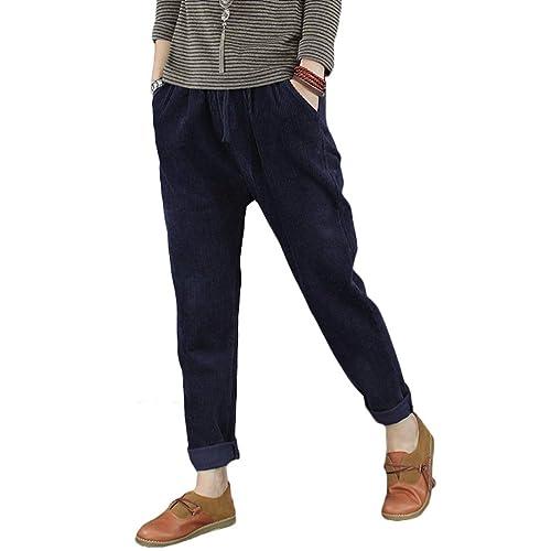 f4caac0bd8a Minibee Women's Casual Corduroy Pants Comfy Pull on Elastic Waist Trousers  Drawstring Cotton Pants