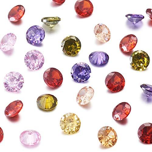 Cheriswely, 50 pietre di zirconia cubica sciolte da 4 mm, cabochon sfaccettati, colori misti, per gioielli fai da te