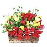 1: 12 Escala Accesorios de Casa de Muñecas Flor en Maceta de Resina en Miniatura con Maceta de Madera Escena de Jardín Planta de Maceta
