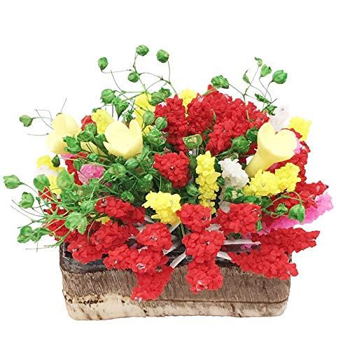 DISHUECO Miniatyr harts krukväxt med träkruka trädgårdsscen blomkruka växt för 1:12 dockhus