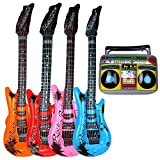 Instrumento musical inflable Guitarra Inflable Instrumentos Musicales Juguetes Guitarras de Aire de Color Radio Inflable Favores de Fiesta Suministros Accesorios Música Decoración Accesorios 5 Piezas