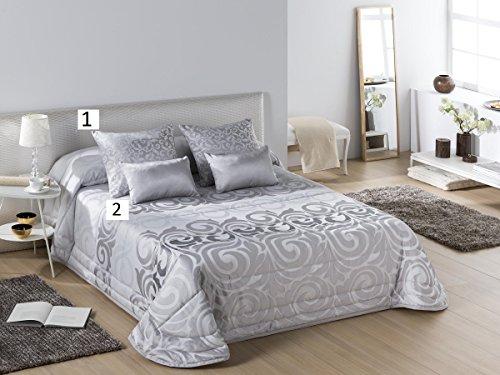 Textilhome - Colcha Bouti Jacquard Bologna Cama 150 cm. Color Plata