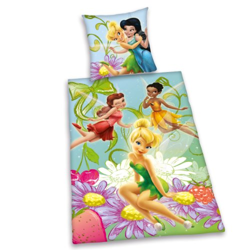 Herding 441963064 Disney Fairies Ropa de Cama, Funda de Almohada de 65 x 100 cm y Funda nórdica de 160 x 210 cm, 100% algodón, Almohada, Suiza