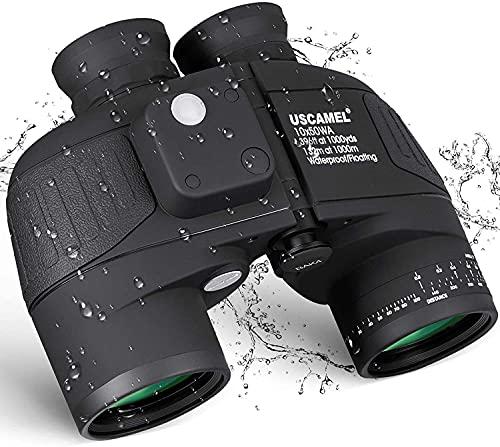 La precisión de alta densidad le brinda precisión 10x50 binoculares marinos - con brújula de rango y correa de arnés para el hombro, binoculares impermeables IPX7 para navegación, caza al aire libre