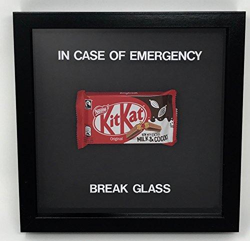 In Case Of Emergency Break Glass Chocolate Kit Kat Encased Frame - Novelty Gift by Acrylics