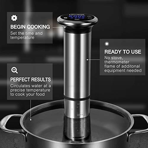 Sous Vide OSTBA, Slow Cooker Circolatore Termico IPX7 impermeabile,roner cucina professionale e Termocircolatore a Immersione per Cottura a Bassa Temperatura 1200W Circolatore di Immersione Ricettario