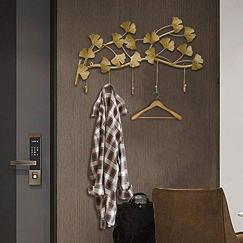 Wall Hook Hook Wall Hanging Wall Creative Door Entrance Decorative Cast Iron Hook Wind Coat Hook Rural Hook, Gold for Home (Color : Gold, Size : 59X34Cm)