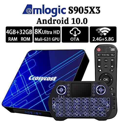 Android TV Box 10.0 4GB RAM 32GB ROM Amlogic S905X3 Smart TV Box Set Top Box with Backlit Wireless...