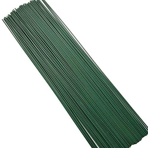 Wankd Lot de 50 tiges de fil de fer vert avec ruban adhésif floral vert enveloppé de papier de fer - Tige de fleurs artificielles faites à la main - 40 cm - Pour les personnes artisanales