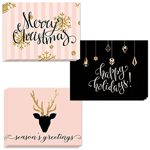 24 Seasons Greetings Cards, 3 Assorted Glittery Christmas Designs Envelopes Included, Send Festive Wishes to Family, Friends & Coworkers, 24 Mixed Variety Boxed Notecards, Gem of a Value by Digibuddha