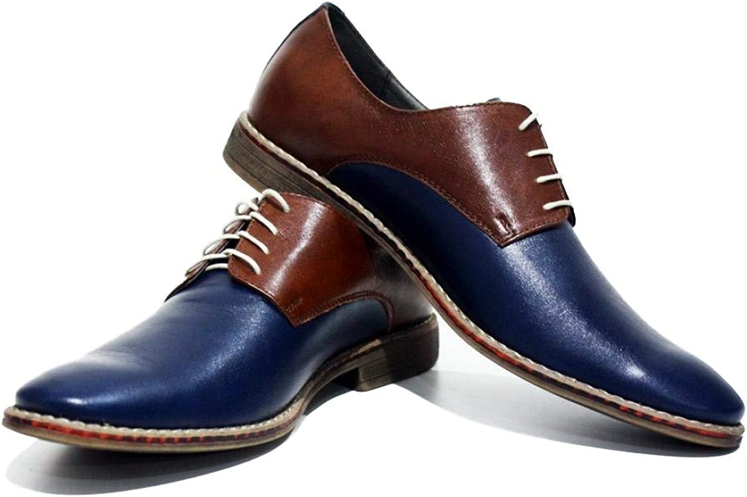 Modello Acireale - Handmade Italian Leather Mens color Navy bluee Oxfords Dress shoes - Cowhide Smooth Leather - Lace-Up