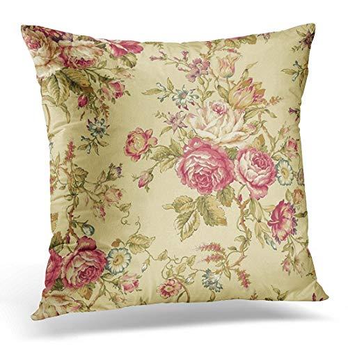 Jhonangel Throw Pillow Cover Vintage Cabbage Rose Design Funda de Almohada Decorativa Decoración para el hogar Funda de Almohada Cuadrada 18x18 Pulgadas