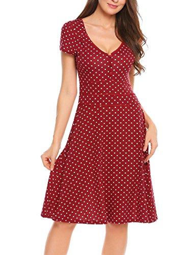 ACEVOG Damen Vintage Gepunktetes Kleid Sommer Knielang mit Kurzarm V Ausschnitt elegant Jersey Kleid Freizeitkleid (XXL, Weinrot)