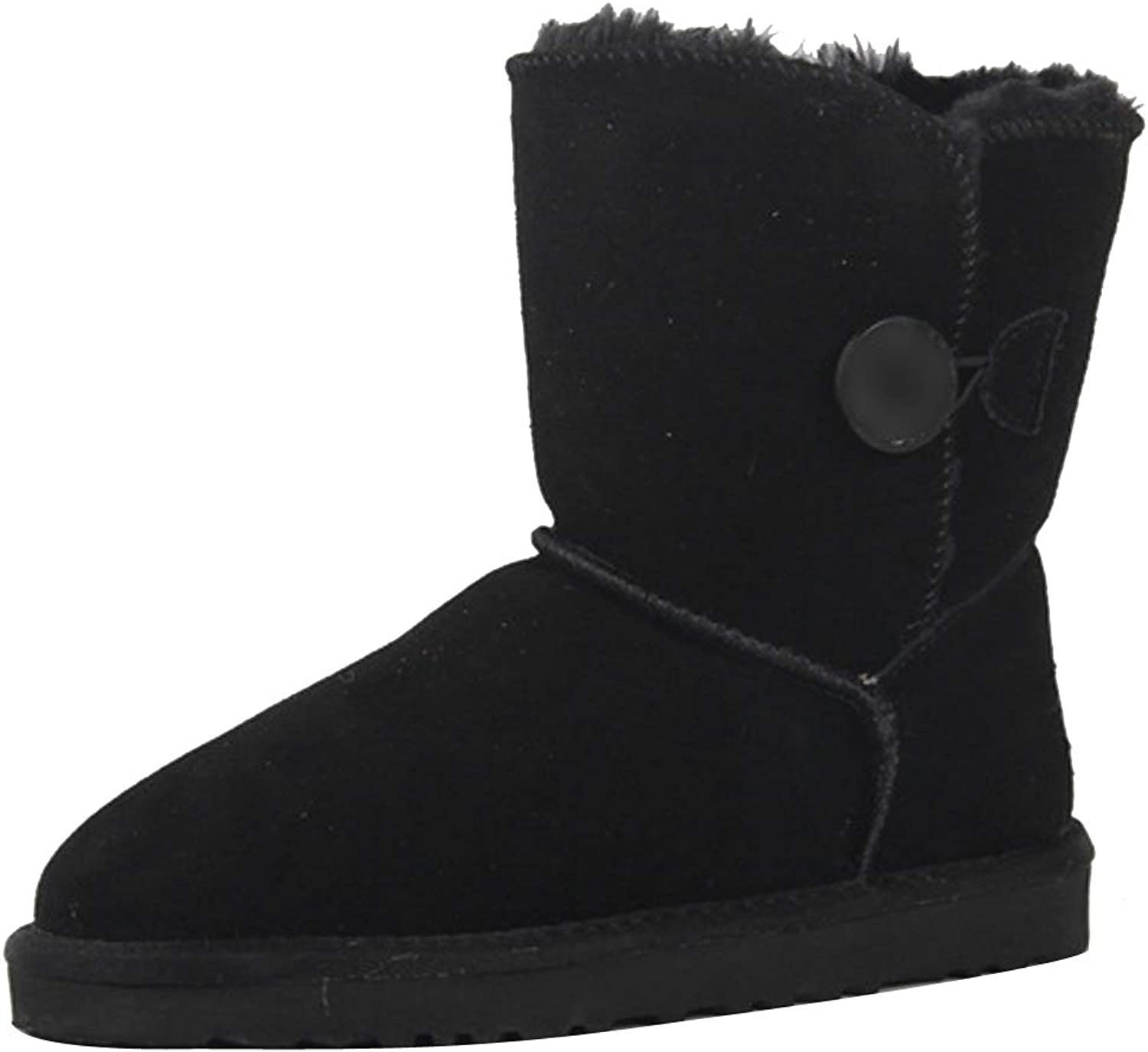 Themost Snow Boots Women's Suede Leather Sheepskin Fur Lining Winter Boot Walk Ankle Booties Black