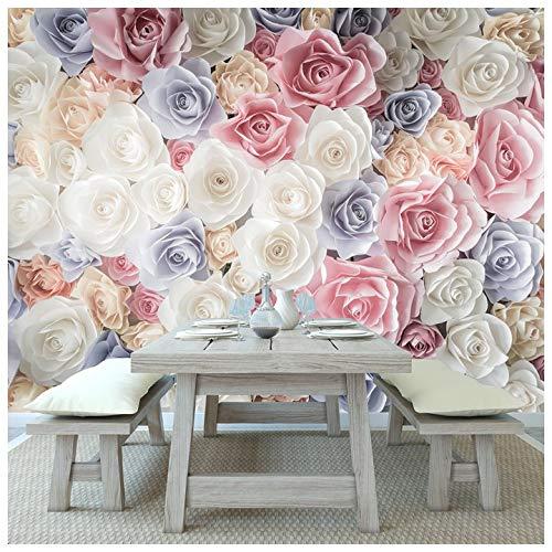azutura Rosa Rose Blumen Fototapete Weißes blaues Blumen Tapete Mädchen Wohnkultur Erhältlich in 8 Größen Groß Digital