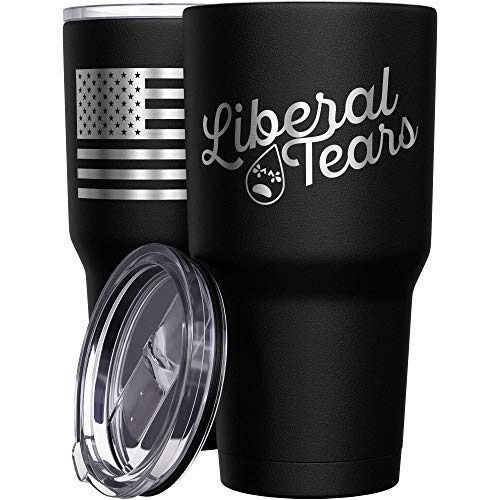 We The People Holsters - Liberal Tears Mug - Stainless Steel Travel Mug with American Flag - 30 oz Insulated Tumbler - Conservative Political Gifts - Anti Liberal Merchandise