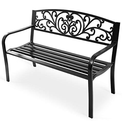 Giantex 50' Patio Garden Bench Loveseats Park Yard Furniture Decor Cast Iron Frame Black Steel with Floral Scroll Pattern