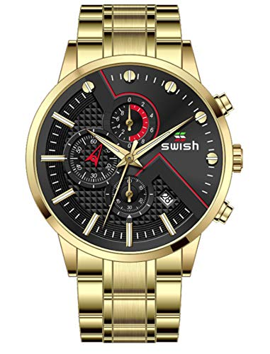 MLHXHX Reloj de hombre, moda de cuarzo reloj calendario impermeable reloj de los hombres negro oro