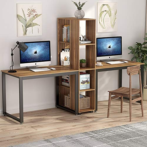 Tribesigns 91 Inches Two Person Computer Desk with Shelves, Extra Large Double Workstations Office Desk with Storage for Home Office (Dark Walnut)