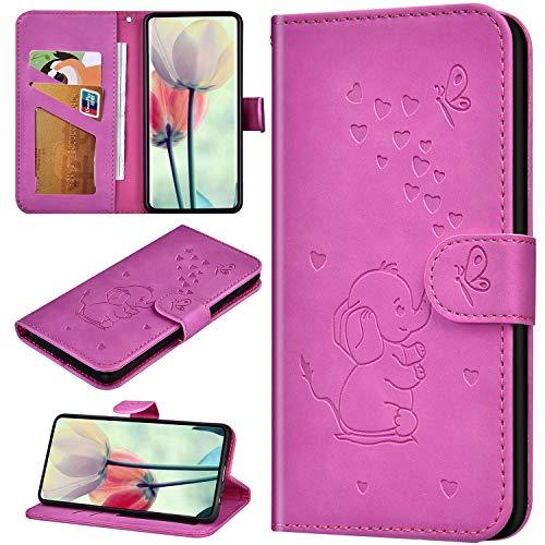 Robinsoni Fodral kompatibelt med Huawei Honor 7A mobilskal PU-läder plånboksskydd stötsäker ställ fodral notebook elefant tryckt fodral flip ställ retro bokfodral tecknat djurfodral rosa röd