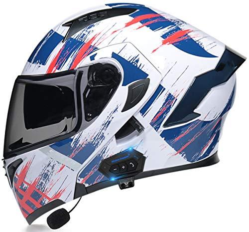 STRTG Casco Bluetooth Motocicleta, Casco Modular Abatible Motocicleta con Visor Dual Antivaho, Cascos Integrales Aprobados Dot/ECE Micrófono Incorporado para Respuesta Automática I,XL