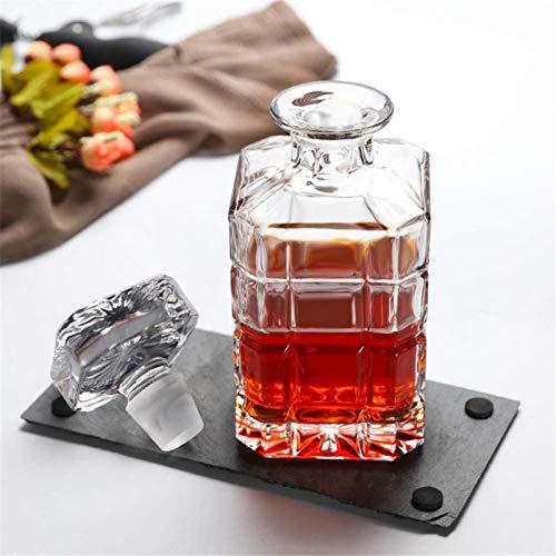 Decantador de vino de vino de cráneo y gafas Set Antillo de whisky, botella de vidrio con tapón geométrico sellado, dispensador de agua, vino, whisky borbón, brandy, licor, jugo, agua, whisky enjuague