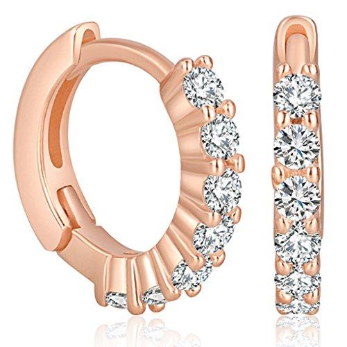 Yumilok Pendientes de aro para mujer, oro rosa, circonita, plata de ley 925, hipoalergénicos, para mujeres y niñas.
