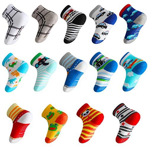 Lictin 14 pares antideslizante calcetines calcetines calcetines de niño talla 2 - 3 años de edad los niños surtidos animal print niños niñas calcetines color al azar