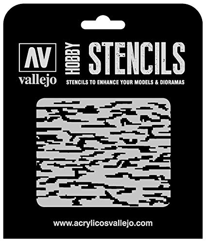 Vallejo ST-CAM004 Pixelated Modern Camo 125 x 125 mm Camouflages Airbrush Schablone