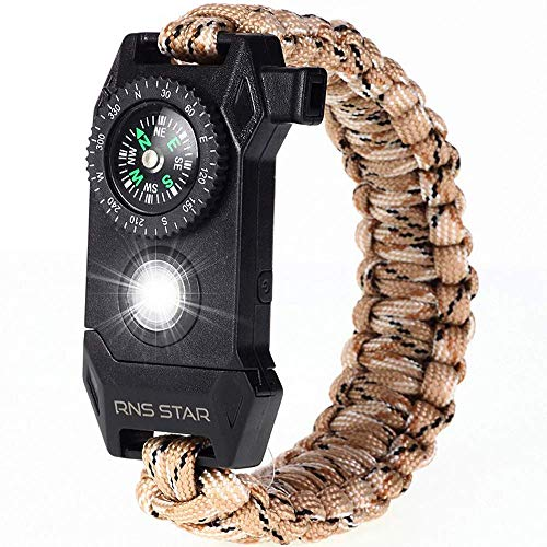 RNS STAR Paracord Survival Bracelet 6-in-1 - Hiking Gear Traveling Camping Gear Kit - 70% Bigger Compass LED SOS Emergency Function Flashlight,Fire Scrapper,Flint Fire Starter,Survival Knife (Camo_5)