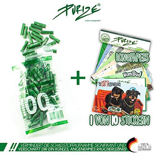 100er PURIZE® Xtra Slim Size Aktivkohlefilter grün
