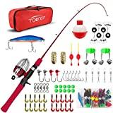 TQONEP Kids Fishing Pole,with Spincast Fishing Reel Tackle Box for Boys, Girls, Youth, Portable Telescopic Fishing Rod and Complete kit with Rotating Fishing Spool
