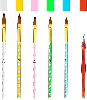 Hanyousheng 5pcs Pincel Uñas de Brochas de Uñas Gel Acrílico Carving Pen Pincel Líquido Polvo DIYJuego de 5 Pinceles de Uñ...