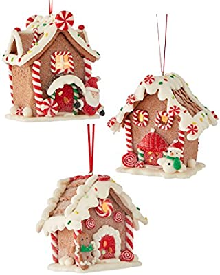 Kurt Adler 3 Assorted Battery Operated LED Gingerbread House Clay Dough Christmas Ornaments