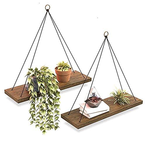 DGDF Estantes flotantes de madera con cordón, juego de 2 estantes colgantes de madera maciza, decoración de granja, estante rústico para plantas, estantes triangulares para sala de estar
