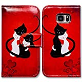 Galaxy S6 Case,Bcov Black Cat White Cat Red Wallet Leather Cover Case for Samsung Galaxy S6