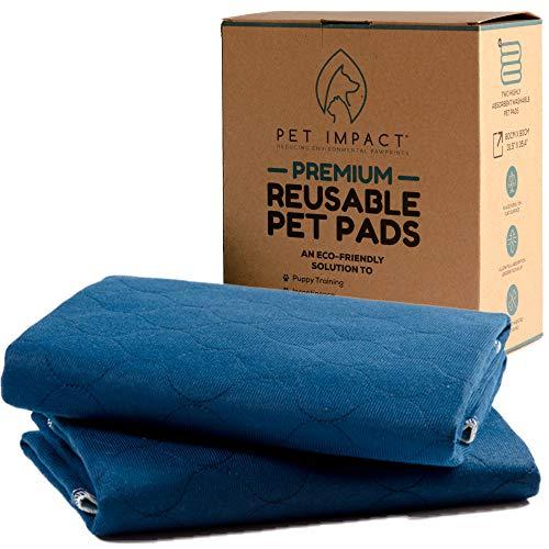 Pet Impact Welpenunterlage, Waschbare Trainingsunterlagen | Hunde Training Pads (2-Pads XL, 90x80cm)